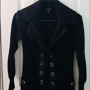 Black long double breasted cardigan